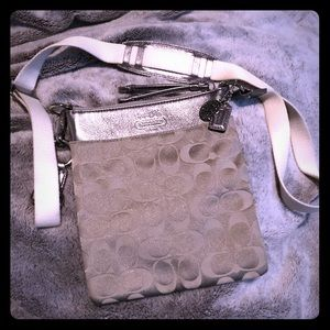 Authentic Coach Crossbody in silver